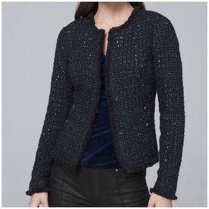 WHBM Sequin Tweed Sweater Jacket Blazer NWT Blue